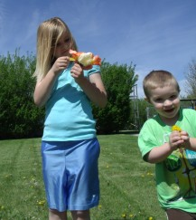 Yvonne's youngest granddaughter and grandson, picking flowers from our yard.